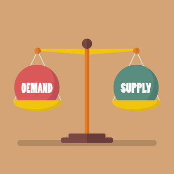 Demand and supply ball balance on the scale