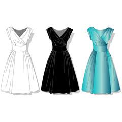 Elegant dress. Female's clothes.