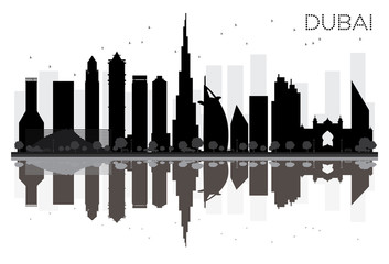 Dubai City skyline black and white silhouette with reflections.