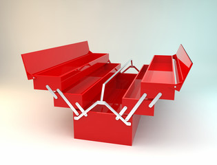 red empty toolbox 3D rendering