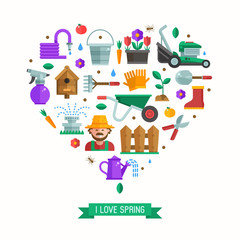 I love spring card with gardening and landscaping icons stylized in heart. Growing plants and horticulture elements backdrop with gardener, grass-cutter, wheelbarrow and other farm and garden tools.