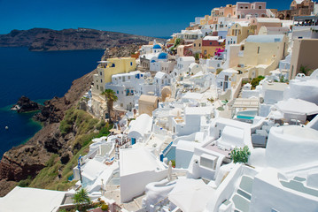 Architecture of island of Santorini, the most romantic island in the world, Greece.  Travel to Greece. Beautiful white exterior Santorini.