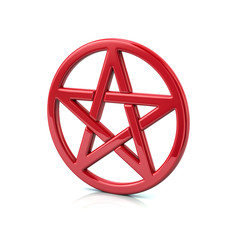 3d illustration of red pentacle isolated on white background