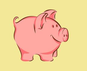 Pretty cartoon style pig, vector illustration