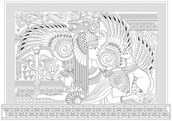 Black and white page for coloring. Drawing of beautiful Egyptian queen between fantastic ancient ornaments. Worksheet for children and adults. Vector image.