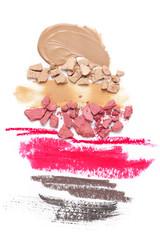 Set of various crashed makeup products