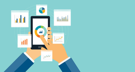 flat business analytics graph on mobile device and finance investment planning background