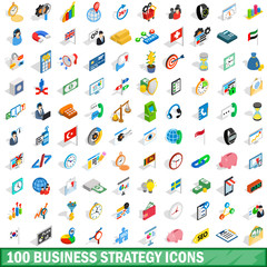 100 business strategy icons set, isometric style