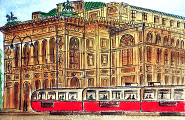 Austria. Vein. Red tram on the background of the Vienna State Opera - the largest opera house in Austria. Watercolor drawing. City sketch.