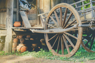 Antique wagon wheels Available in Rural Thailand