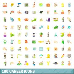 100 career icons set, cartoon style
