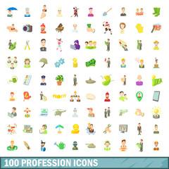 100 profession icons set, cartoon style