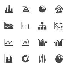 Vector black diagram icons set