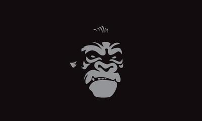 Vector illustration, head evil ferocious gorilla shouts, mascot