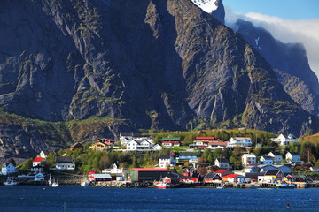 Wall Mural - Norwegian fishing village with traditional red rorbu huts, Reine, Lofoten Islands, Norway