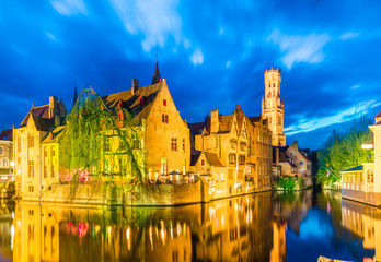 Wall Mural - Canal in Bruges and famous Belfry tower in Brugge, Belgium.