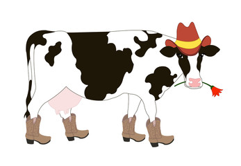 Cartoon cowboy cow wearing a hat and boots
