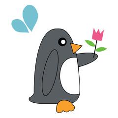 Penguin holding flowers.