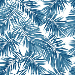 Indigo vector seamless pattern with monstera palm leaves on dark background. Summer tropical camouflage fabric design.