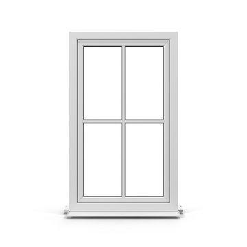 One door plastic window isolated on white. 3D illustration