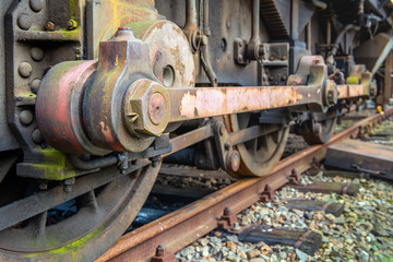 Driving rod of an old diesel-electric locomotive from close
