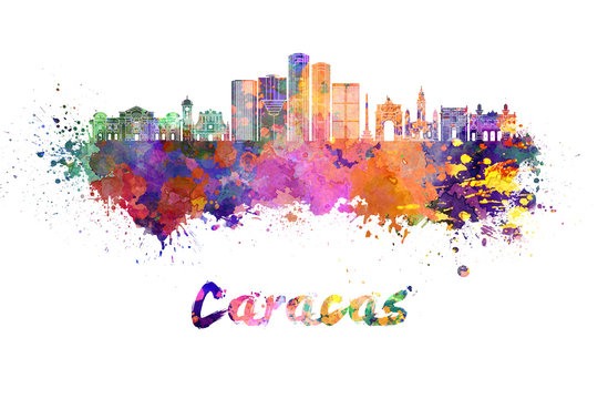 Caracas V2 skyline in watercolor