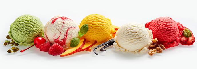 Set of ice cream scoops