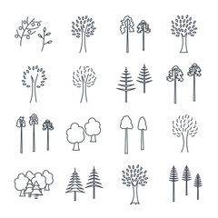 set of thin line icons abstract trees