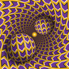 Optical illusion illustration. Two balls are moving in rotating hole. Purple arrows on yellow pattern objects. Abstract fantasy in a surreal style.