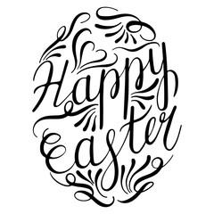 Happy Easter Lettering Egg. Vector illustration