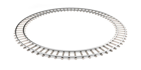 Railroad isolated on the white in the infinity shape.