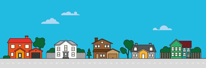 Colorful village neighborhood vector illustration