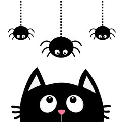 Black cat face head silhouette looking up to three hanging on dash line web sprider insect. Cute cartoon character. Kawaii animal. Baby card. Pet collection. Flat design White background. Isolated.