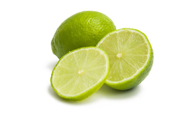 fresh green limes isolated