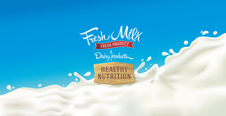 Design elements for label or packaging of dairy products - splash of milk, with a set of inscription.