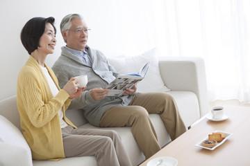 Senior couple having tea