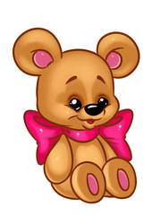 Bear toy bow animal character cartoon Illustrations