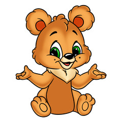Bear cheerful  cartoon Illustrations isolated image character