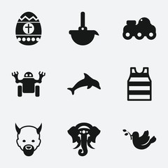 Set of 9 cute filled icons