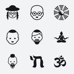 Set of 9 buddhism filled icons
