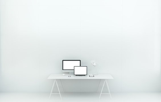 Modern white desk office interior with computer and devices 3D rendering