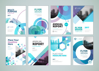 Brochure, annual report, flyer design templates in A4 size. Set of vector illustrations for business presentation, business paper, corporate document cover and layout template designs.