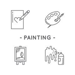 Line black painting icon set