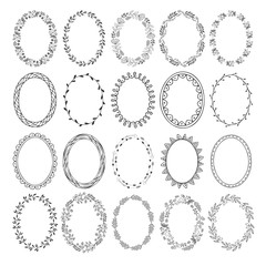 Set of hand drawn fancy wreaths and frames