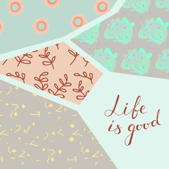 Abstract modern geometrical pattern with hand drawn lettering.Design for cards,textile,background.