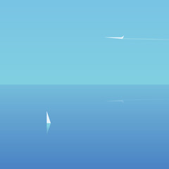 Minimalistic summer traveling poster with yacht and plane sailing and flying.
