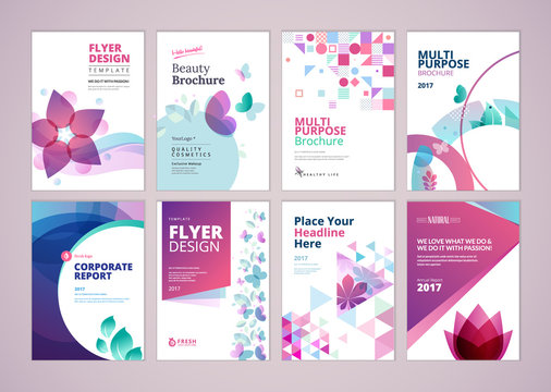 Beauty and wellness brochure cover design and flyer layout templates collection. Vector illustrations for marketing material, ads and magazine, products presentation templates.