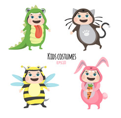 Set of cute kids wearing animal costumes isolated on white background, Kid with animals costume, cute child in costume