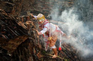 Khon,Art culture Thailand Dancing in masked khon hanuman in literature Ramayana,thailand culture,Thailand traditional culture,Thailand