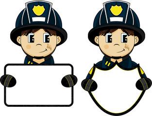 Cute Cartoon Fireman - Firefighter with Sign